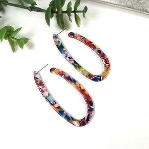 Multicolored Elongated Hoop Earrings